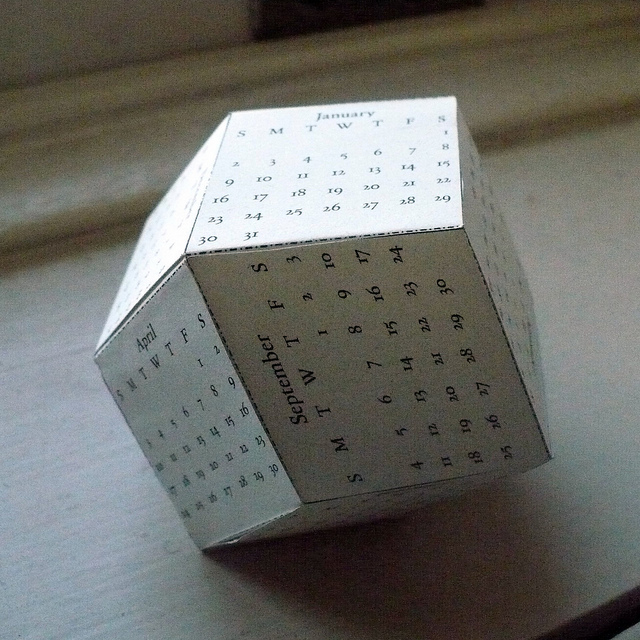 Rhombic Dodecahedron Calendar by Philip Chapman-Bell.